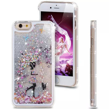 Liquid Glitter Phone Case for Iphone 5 5S (Girl With Umbrella)