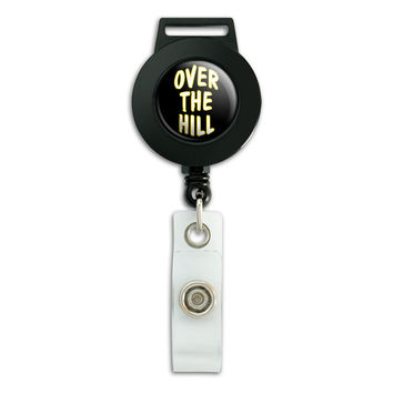 Over the Hill Birthday Black Yellow Retractable Badge Card ID Holder