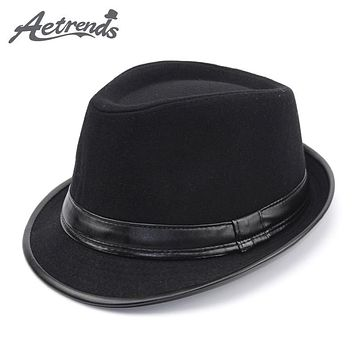[AETRENDS] 2017 England Style Fedora Jazz Hat Men Vintage Wool Felt Winter Hat Panama Cap Z-5312