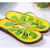 Watermelon Flip Flops shoes women US Fashion kiwi Fruit Leisure Sandals Beach Slipper
