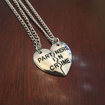 Partners in Crime Best Friend Necklace in Silver