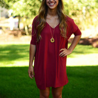 Half-Sleeve Piko Dress - Wine