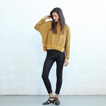 Yellow Scoop Neck Striped Sweater