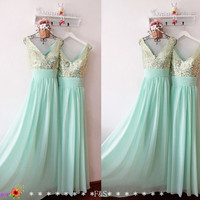 Long Mint Prom Dress,Sexy Sparkly Prom Bridesmaid Dress,Sexy Evening Dress,Mint Green Bridesmaid Dress,Elegant Long Prom Dress Robes