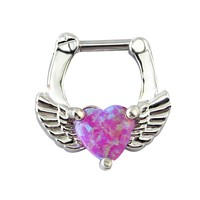 Opal heart nose rings and studs septum clicker 16g real septum jewelry nose ring hoop septum piercing rings piercing nariz