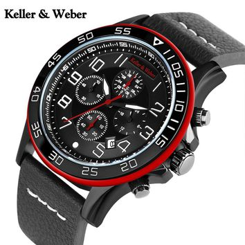 K & W Mens Watches Date Chronograph Quartz Military Pilot Watch Leather Sports Waterproof Stop Clock Hours relogio masculino