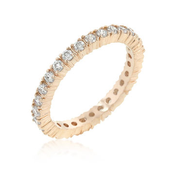 Rosegold Finish Cubic Zirconia Eternity Band