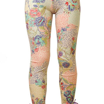 Designer girls leggings in stretch cotton jersey spandex in eden signature print with button and bow details at cuff