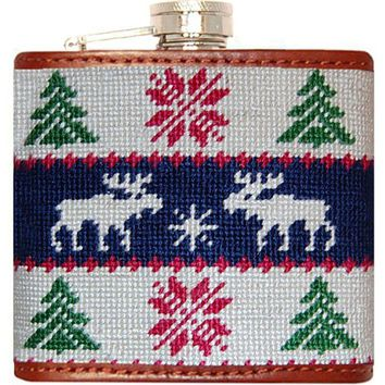 Christmas Sweater Needlepoint Flask in White and Navy by Smathers & Branson