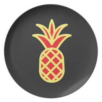 Yellow Pine Apple in Black Melamine Plate