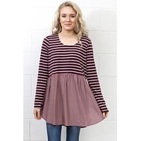Stripes + Solid Color Block Tunic {Mulberry/Mauve} - Size MEDIUM