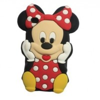 Red 3D Cute Mickey Minnie Mouse Soft Silicon Case Cover For Apple ipod Touch 4
