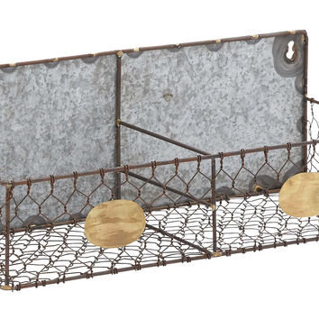 Hand Crafted Metal Wire Wall Rack With Two Sections