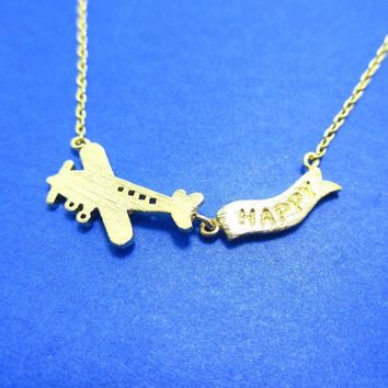 Airplane With Happy Banner Shaped Motivational Charm Necklace in Gold | DOTOLY
