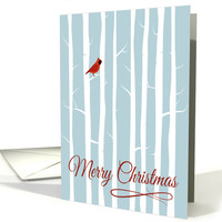 Red Cardinal in Forest Silhouette for Merry Christmas card