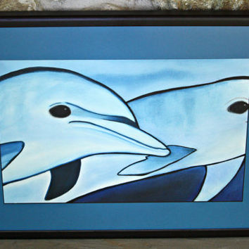 Original Dolphins Drawing - Framed Pastel and Charcoal Large Wall Decor by Mei Faith