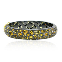 18 k Gold Citrine Gemstone Diamond Bangle