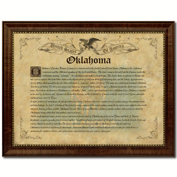 Oklahoma Vintage History Flag Canvas Print, Picture Frame Gift Ideas Home Décor Wall Art Decoration