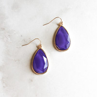 Teardrop Earrings in Purple