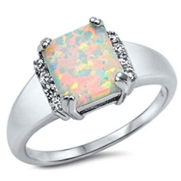 .925 Sterling Silver White Fire Opal Ladies Ring Size 5-10 Princess Cut Halo Solitaire