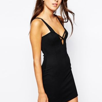 Oh My Love Textured Cross Front Body-Conscious Dress - Black