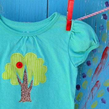 Apple Tree Applique Tshirt Teal Capsleeve Girls 24 by OddEDesigns