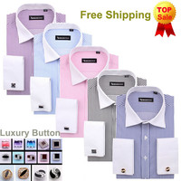 Men's French Cut Striped Dress Shirt with Luxury Button Cuffs
