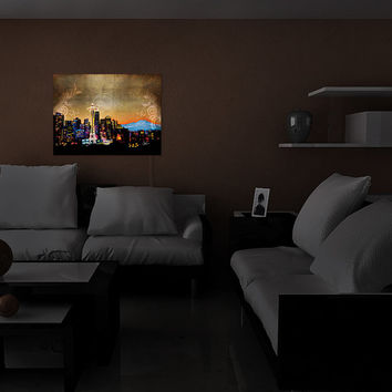 Illuminated Wall Art by DiaNoche Designs, Seattle Skyline