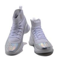 HCXX Men's Under Armor Curry 4 Basketball Shoes Silver 40-46