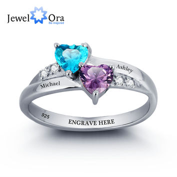 Promise Ring Birthstone Ring Engrave Name DIY Love 925 Sterling Silver Heart Rings Free Gift Box (JewelOra RI101781)