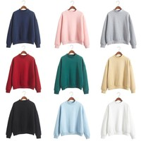 LIENZY 2016 Women Blank Sweatshirt American Apparel Candy Color Loose Long Sleeve Harajuku Style Pink Pullover Cashmere Hoodies