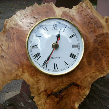 Wall clock.Hand turned coolabah burl.