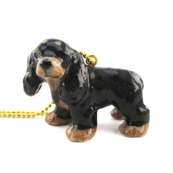 3D Porcelain Cocker Spaniel Themed Ceramic Pendant Necklace