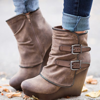 Why Don't We Just Wedge Double Buckled Wedge Booties (Taupe)