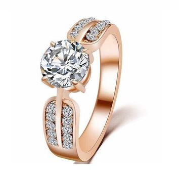 Love Rose Gold Color Big Crystal Rings For Women
