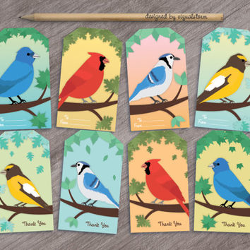 Song Bird Party Favor Tags Colorful Bird Gift Tag Printable Birthday Party Favors Thank You Tags Cardinal Grosbeak Blue Jay Indigo Bunting