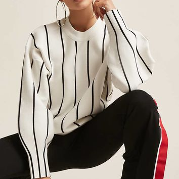 Boxy Stripe Balloon-Sleeve Sweater