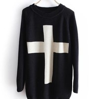 Cross Sweater, Loose Sweater