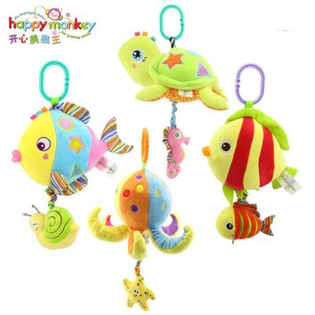 HAPPY MONKEY Baby Toys Rattles Toy Kids Soft Plush toys Baby Crib Bed Hanging Bells Toys for Stroller with music WJ460