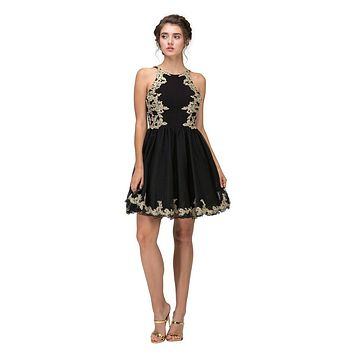 Black Homecoming Short Dress with Gold Appliques