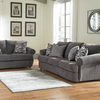 2 pc Allouette collection ash fabric upholstered sofa and love seat set with rounded arms