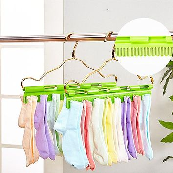 Socks Pegs Clothes Hanger Clips Clamps Green Laundry Plastic 40*6cm Anti Skid Windproof 2 in 1 Multifunctional Storage Rack