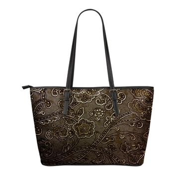 Chocolate Brown Fowers Small Leather Tote Style Handbag