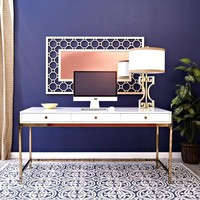 Juniper Gold Frame White Oversized Desk