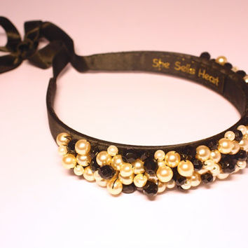 Embellished headband. Pearl headband. Beaded headband. Black and pearl beaded headband. Black and Pearl tiara. Very Audrey Hepburn style.