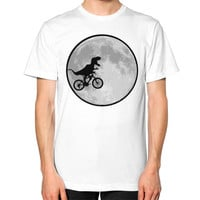Dinosaur bike and MOON Unisex T-Shirt (on man)