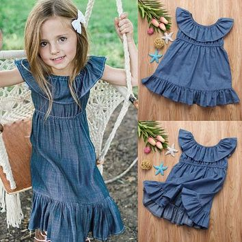 Toddler Girl Princess Dress Kids Baby Party Wedding Ruffle Denim Dresses Clothes