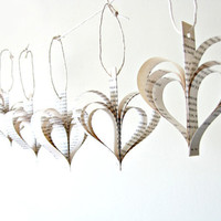 Vintage Paper Heart Garland - Wedding Decoration, upcycled vintage book hearts, shabby chic garland, romantic heart ornaments