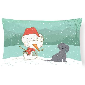 Black Maltese Snowman Christmas Canvas Fabric Decorative Pillow CK2092PW1216