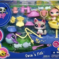 Littlest Pet Shop Figures Themed Playset Lazy Fishing Day Swim n Fish